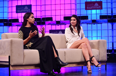 Rosario Dawson, left, Actress & Founder, Studio 189, and Sara Sampaio, Model, Victoria's Secret, on the Centre Stage during day three of Web Summit 2017 at Altice Arena in Lisbon. Photo by Sam Barnes/Web Summit via Sportsfile
