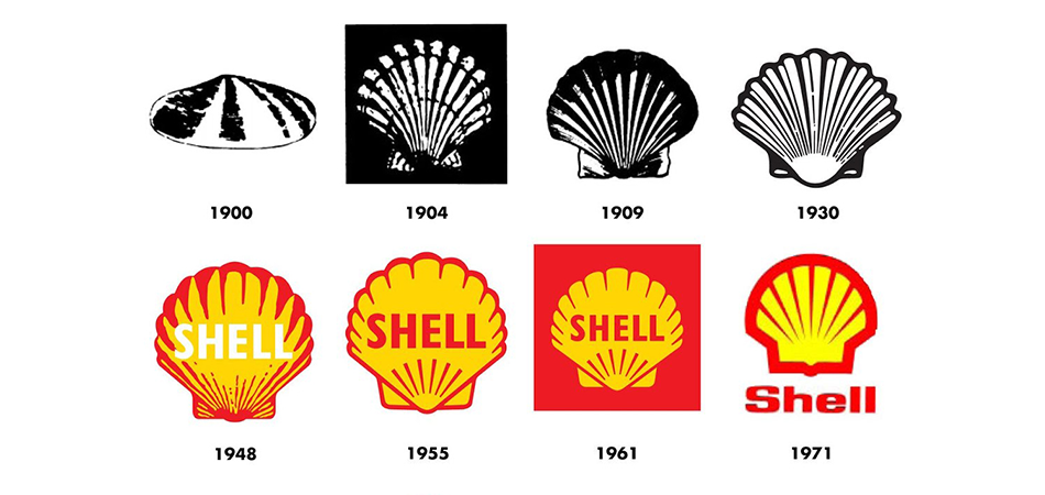 Evolution the the Shell logo
